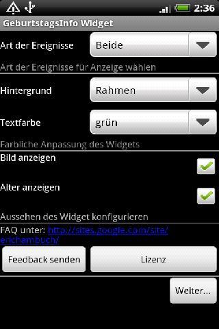 Birthday Info Widget screenshot