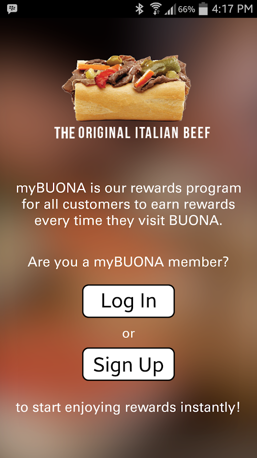 my BUONA Rewards- screenshot