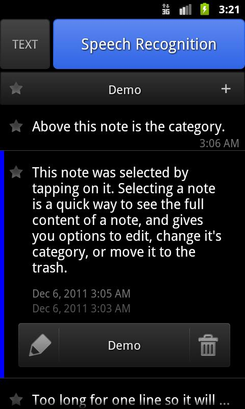 ListNote Speech/Text Notepad - screenshot