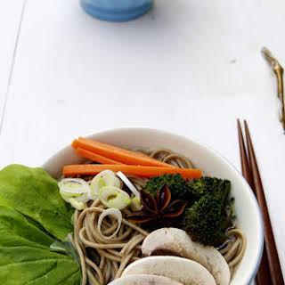 Star Anise And Vegetables Soba Noodles.