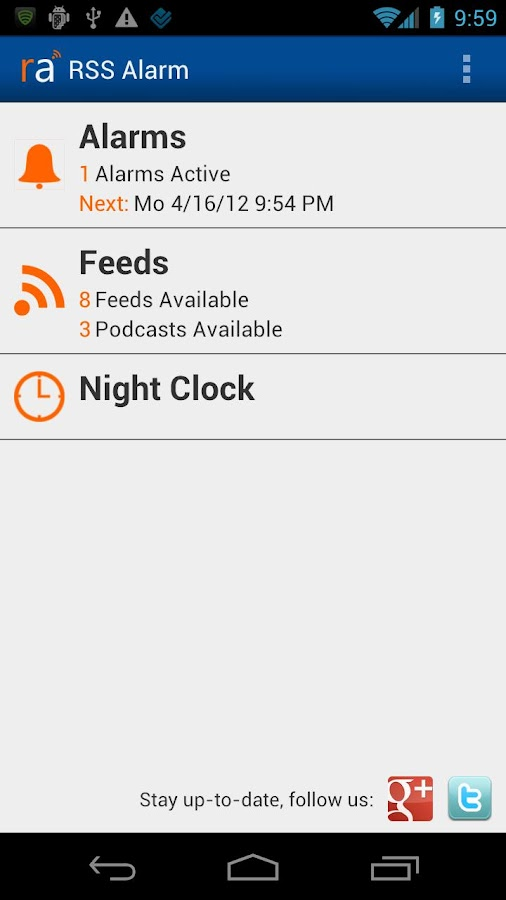 RSS Alarm - screenshot