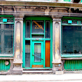 220 by Ronnie Caplan - City,  Street & Park  Historic Districts ( building, facade, green, door, windows, old montreal, historic, deserted, sidewalk, abandoned, Urban, City, Lifestyle,  )