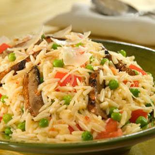 Italian Orzo Salad With Peas, Parmesan & Portobellos.