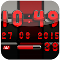 Digi Clock Black Red widget