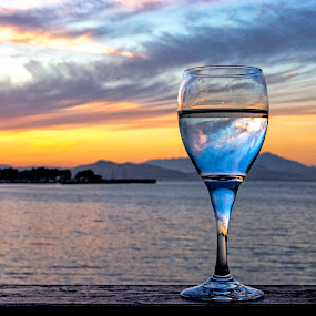 Double Harmony by Jamie Valladao - Artistic Objects Glass ( clouds, water, wine, bay, glass of wine, sunset, capture the sunset, glass )