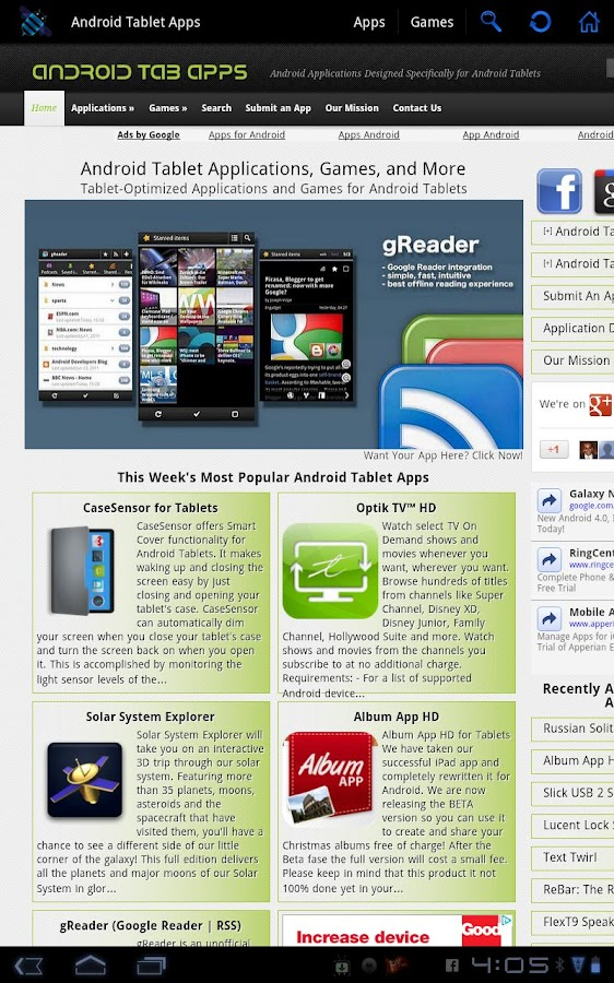 Android Tablet Apps - screenshot
