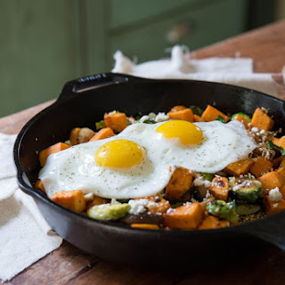 Sweet Potato, Mushroom and Brussels Sprout Hash with Quinoa