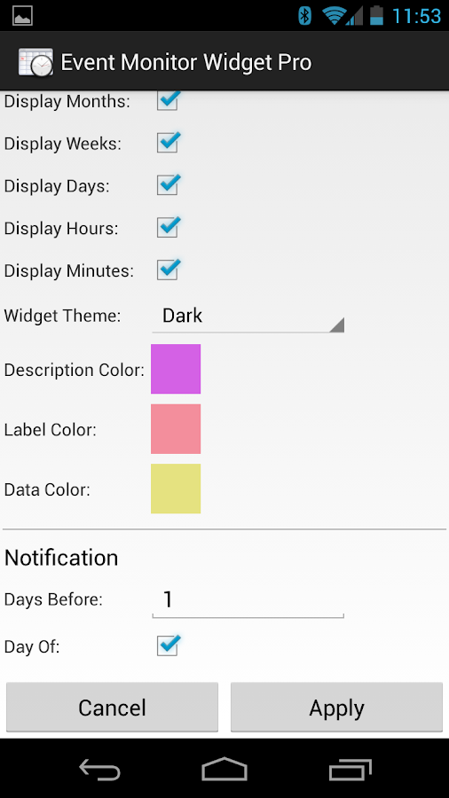 Event Monitor Widget Pro - screenshot
