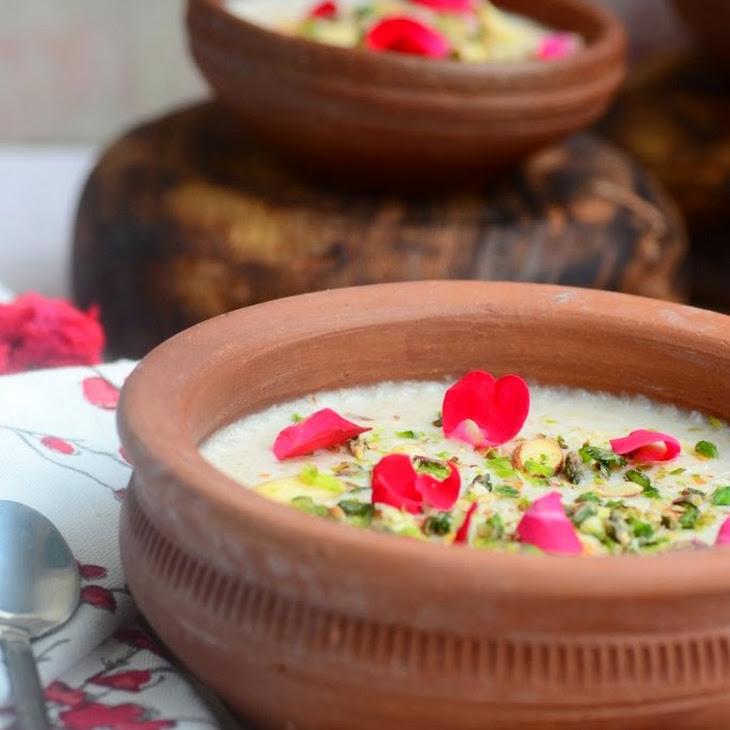 Gulab Phirni / Rose Flavored Rice Pudding Recipe