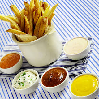 Homemade French Fries with Five Dipping Sauces.