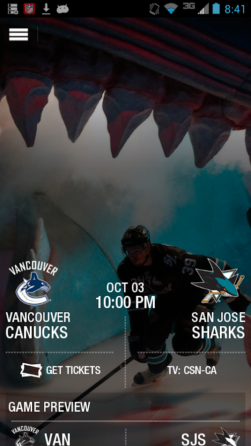 San Jose Sharks Official App - screenshot