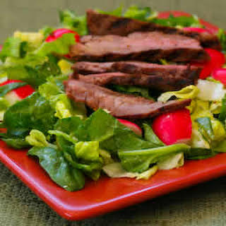 Leftover Steak Salad with Spinach, Radishes, and Gorgonzola Vinaigrette.