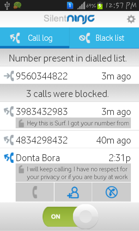SilentNinja: DND call blocker- screenshot