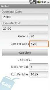 Gas Mileage Calculator - screenshot thumbnail
