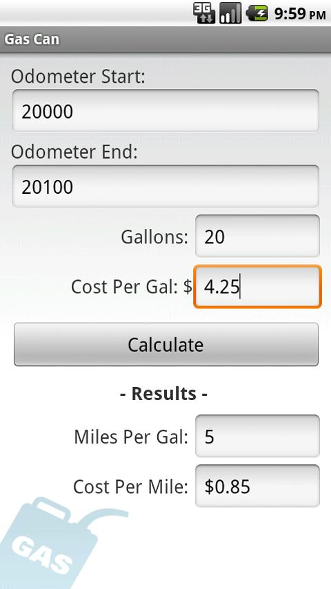 Gas Mileage Calculator - screenshot