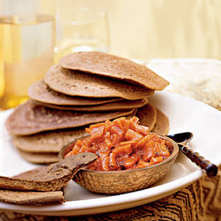 Teff Injera Bread with Carrot-Ginger Chutney.