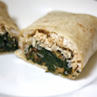 Indian Burrito with Spinach, Chickpeas, and Tomato.