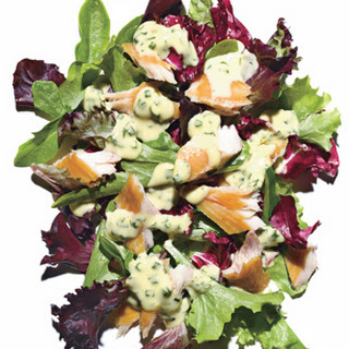 Spring Greens with Smoked Fish and Herbed Aioli.