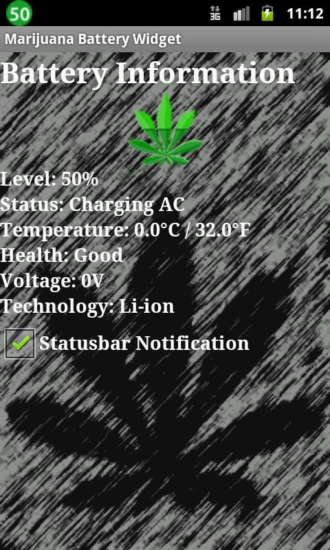 Marijuana Battery Widget - screenshot