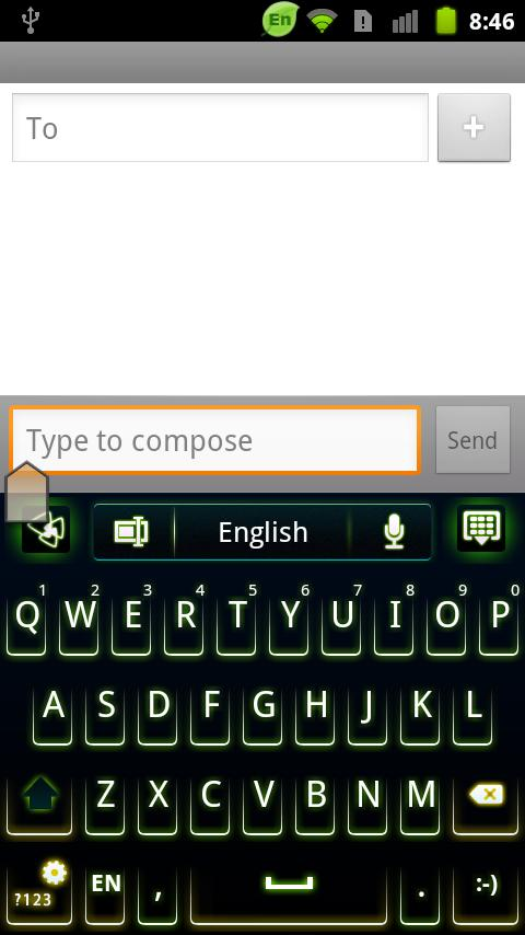 GO Keyboard Green Neon Theme - screenshot
