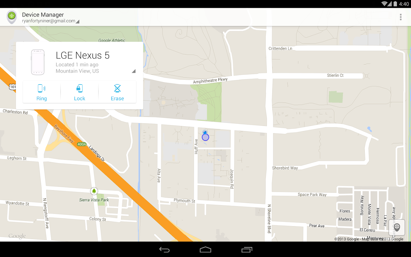 Android Device Manager: captura de pantalla