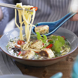 Spiced Chicken Meatballs with Noodles, Basil & Broth Recipe