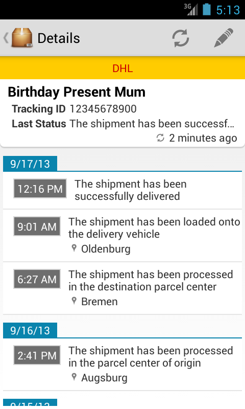 Deliveries Package Tracker- screenshot