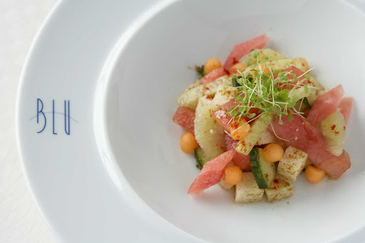 Blu_watermelon_jicama_salad - Try the refreshing, sweet watermelon jicama salad while dining at Celebrity Cruises's Blu restaurant.