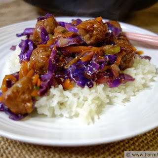 Orange Teriyaki Slaw Stir Fry with Orange Sriracha Turkey Meatballs