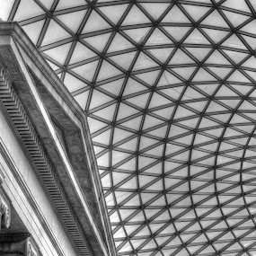 The Great Court by Michael McMurray - Black & White Buildings & Architecture ( england, uk, atrium, b&w, hdr, london, british museum, architecture, great court, Architecture, Ceilings, Ceiling, Buildings, Building )