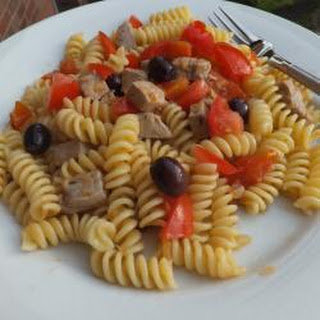 Fusilli With Fresh Tuna, Olives And Tomatoes.
