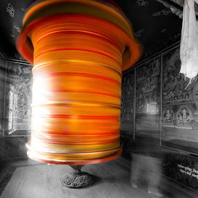 Prayer Wheel by Veronika Kovacova - Novices Only Street & Candid ( prayer, buddhism, selective color, black and white, motion, motion blur, nepal,  )