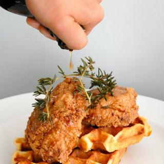 Buttermilk Fried Chicken with Cheesy Polenta Waffles.