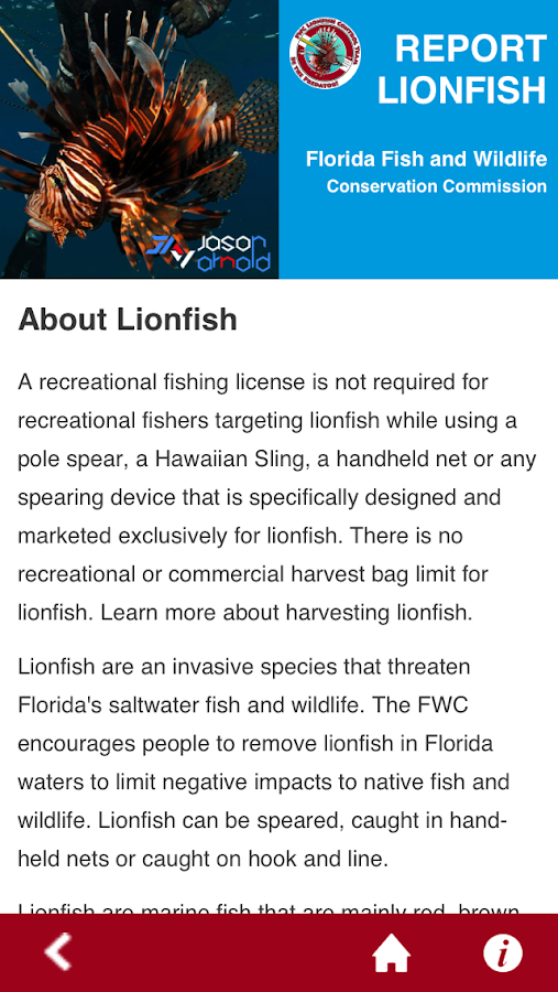 Report Florida Lionfish - screenshot