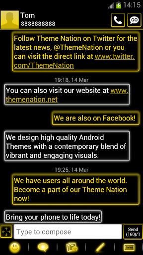 GO SMS Pro Theme - Yellow Neon