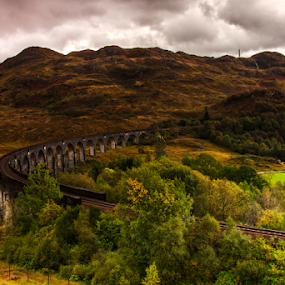 On the way to Wizard School.  by Daphne Tan - Transportation Railway Tracks ( hogwarts, railway, autumn )