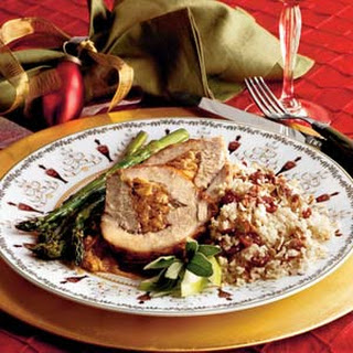 Spiced-and-Stuffed Pork Loin With Cider Sauce.