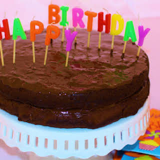 Happy Healthy Chocolate Birthday Cake with Chocolate Vegan Frosting.