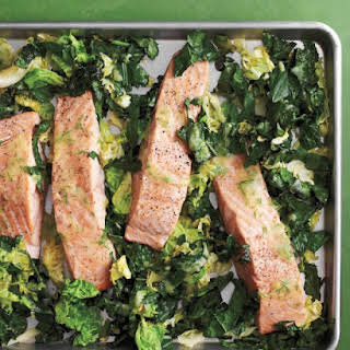 Roasted Salmon with Kale and Cabbage.