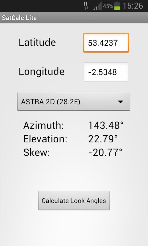 SatCalc Free Satellite Finder - screenshot