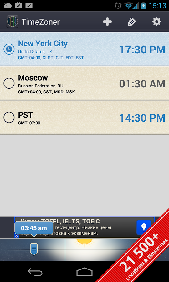 TimeZoner: Time Zone Converter - screenshot
