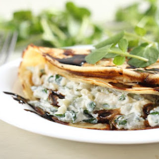 Creamy Watercress Stuffed Crêpes With Balsamic Reduction.
