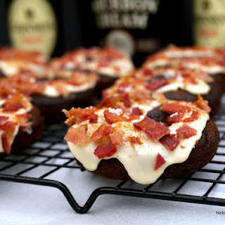 Chocolate Guinness Doughnuts with Bourbon Cream Glaze and Bacon
