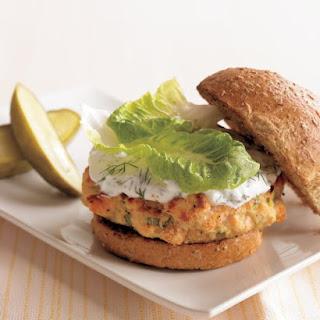 Salmon Burgers with Yogurt-Dill Sauce.