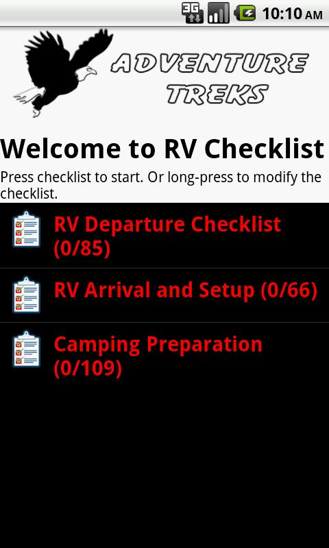RV Checklist - screenshot