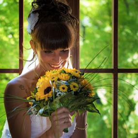 Dreaming by Luca Bonisolli - Wedding Bride ( window, dream, wedding, colors, bride, light )