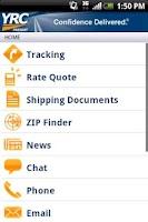Screenshot of YRC Freight Mobile
