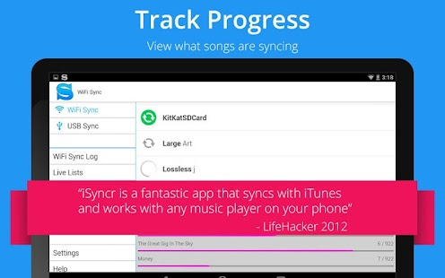 Sync iTunes to Android -iSyncr - screenshot thumbnail