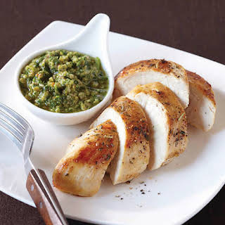 Chicken Breasts with Green Olive Chimichurri.