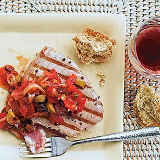 Grilled Tuna with Mediterranean Sauce.
